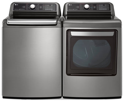 LG 6.0 Cu. Ft. Top-Load Washer and 7.3 Cu. Ft. Electric Dryer - Stainless Steel - Laundry Set in Stainless Steel