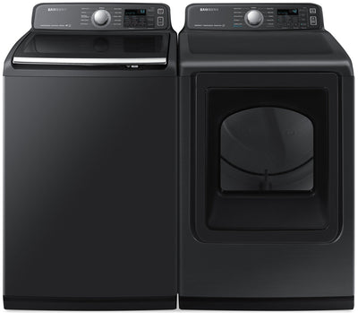Samsung 5.8 Cu. Ft. Top-Load Washer and 7.4 Cu. Ft. Electric Dryer - Black Stainless Steel - Laundry Set in Black Stainless Steel