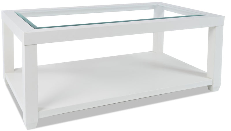 Corey Coffee Table - White - Modern style Coffee Table in White Acacia, Glass