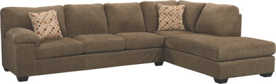 Morty 2-Piece Chenille Right-Facing Sectional - Brown