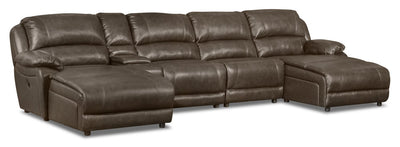 Marco 5-Piece Genuine Leather Home Theatre Sectional with 2 Inclining Chaises - Grey