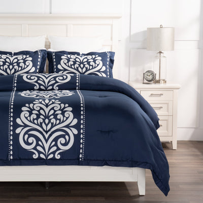 Navy Damask 3-Piece Full/Queen Comforter Set|Ensemble d'édredon Navy Damask 3 pièces pour lit double ou grand lit|NVYDM3FQ