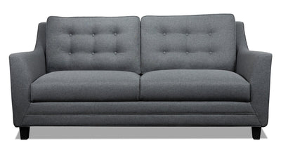 Novalee Linen-Look Fabric Sofa - Grey - Modern, Retro style Sofa in Grey Plywood, Solid Woods