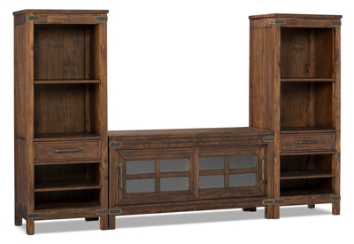 "Huntley 3-Piece Entertainment Centre with 52"" TV Opening - Rustic style Wall Unit in Dark Brown Wood"