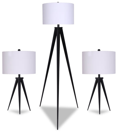 Skyler 3-Piece Floor and Two Table Lamps Set  | Ensemble Skyler 3 pièces, 1 lampe à pied et 2 lampes de table  | SKYLR3PK