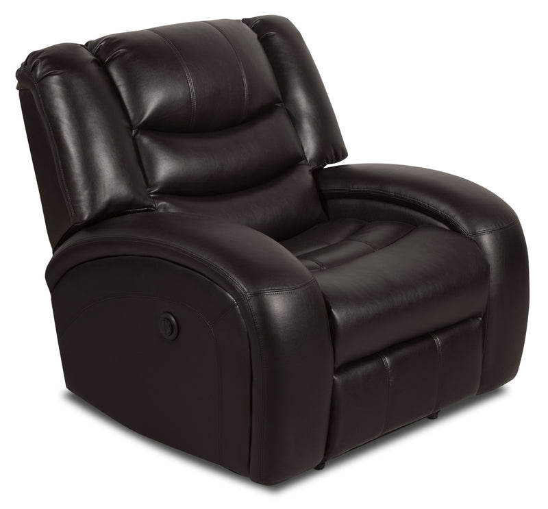 Angus Leather-Look Fabric Power Reclining Chair – Dark Brown|Fauteuil à inclinaison électrique Angus en tissu apparence cuir – brun foncé