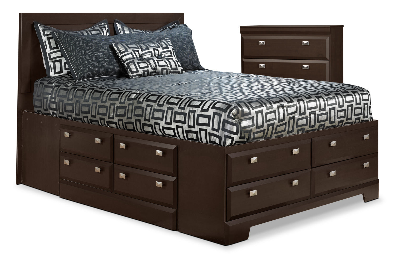 Yorkdale piece queen storage bed and chest package the brick