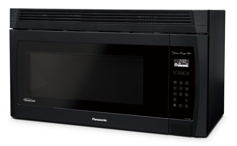 Panasonic® 2.0 Cu. Ft. Genius® Prestige® Plus Over-the-Range Microwave Oven - Black|Four à micro-ondes à hotte intégrée Genius(MD) Prestige Plus de 2.0 pi³ de Panasonic - noir