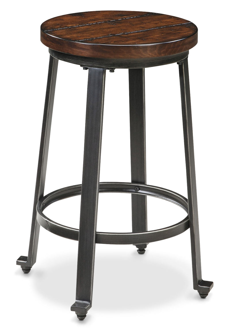 "Challiman 24"" Bar Stool - Industrial style Bar Stool in Pewter Metal and Hardwood Solids"