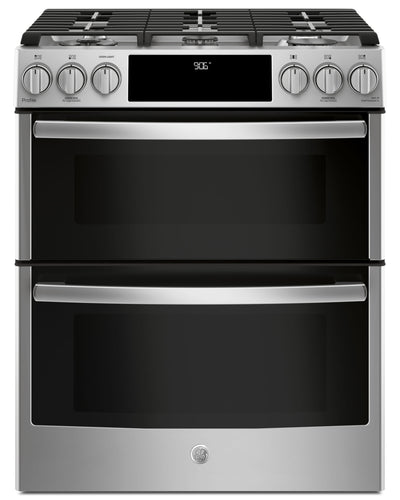 GE 6.7 Cu. Ft. Slide-In Double Oven Convection Gas Range – PCGS960SELSS - Gas Range in Stainless Steel