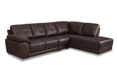 Rylee 3-Piece Genuine Leather Right-Facing Sectional - Brown|Sofa sectionnel de droite Rylee 3 pièces en cuir véritable - brun|RYLEBRS3