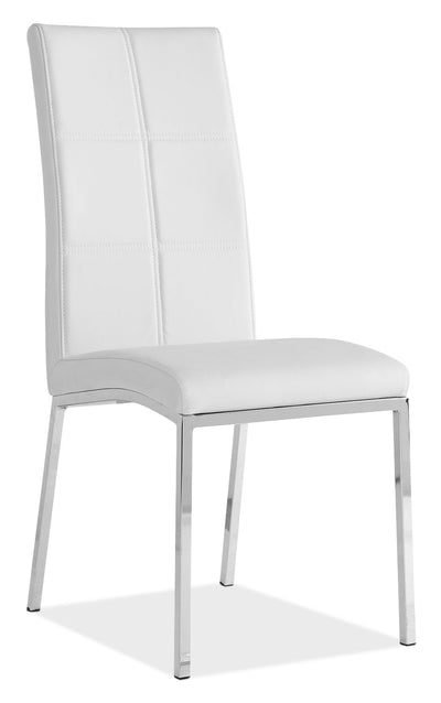 Milton Side Chair – White - Modern style Dining Chair in White Steel and Faux Leather