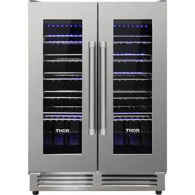 Thor Kitchen Dual Zone French-Door Wine Cooler - TWC2402 - Refrigerator in Stainless Steel