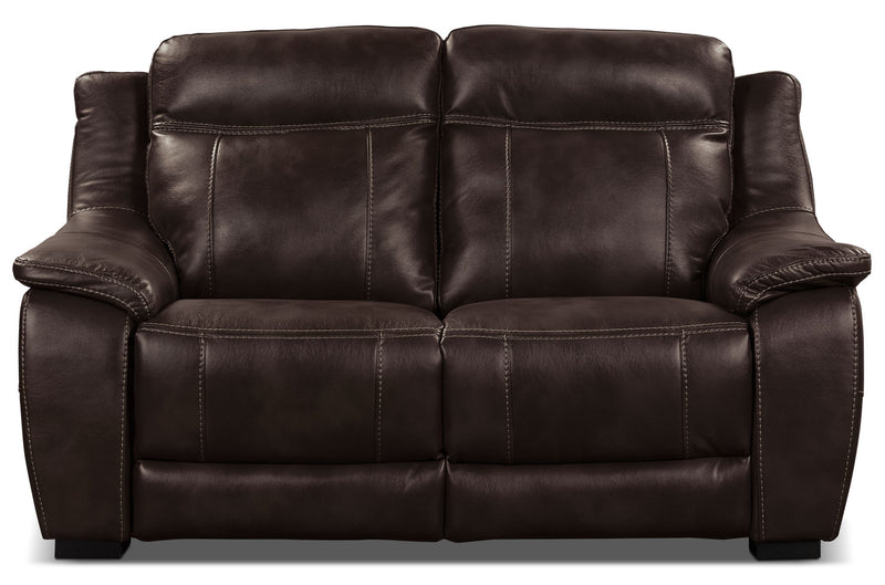 Novo Leather-Look Fabric Loveseat – Brown - Modern style Loveseat in Brown