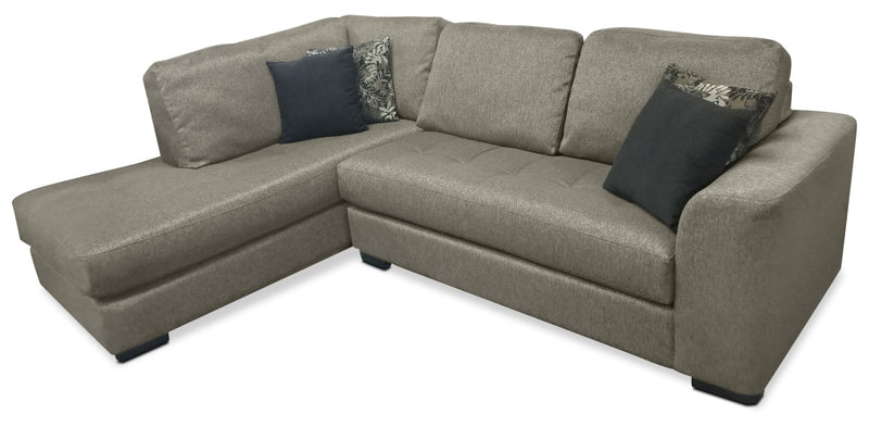 Alta 2-Piece Chenille Left-Facing Sectional – Grey|Sofa sectionnel de gauche Alta 2 pièces en chenille - gris