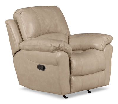 Kobe Genuine Leather Reclining Chair – Stone|Fauteuil inclinable Kobe en cuir véritable - pierre|KOBESTRC