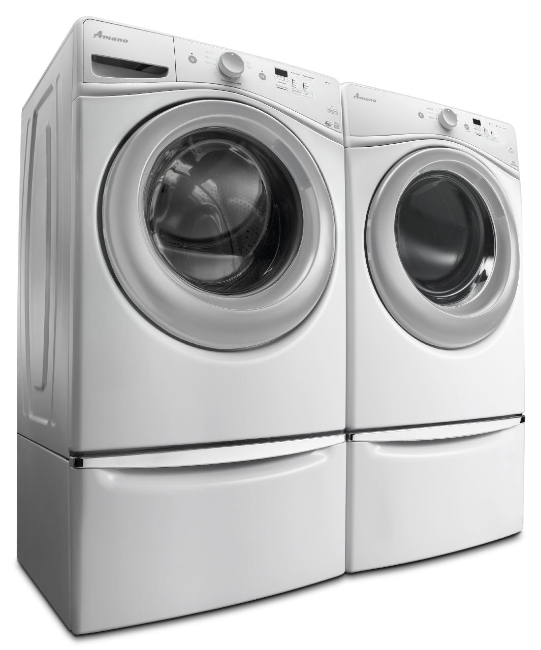Amana 4 8 Cu  Ft  Front Load Washer and 7 4 Cu  Ft  Electric Dryer - White