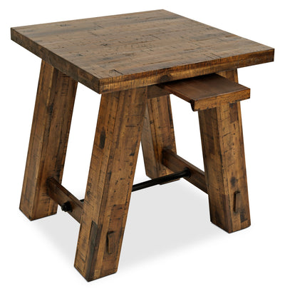 Galveston End Table - Rustic style End Table in Rustic Brown Acacia Solids and Veneers