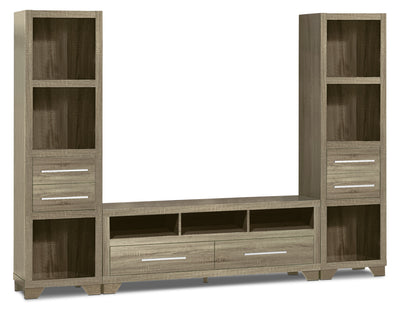 "Glendale 3-Piece Entertainment Centre with 60"" TV Opening – Grey - Modern style Wall Unit in Grey"