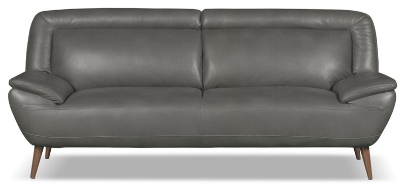 Roxy Leather-Look Fabric Studio-Size Sofa - Grey|Sofa Roxy de format condo d'apparence cuir - gris