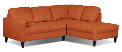 Paris 2-Piece Linen-Look Fabric Right-Facing Sectional – Tangerine - Modern style Sectional in Tangerine
