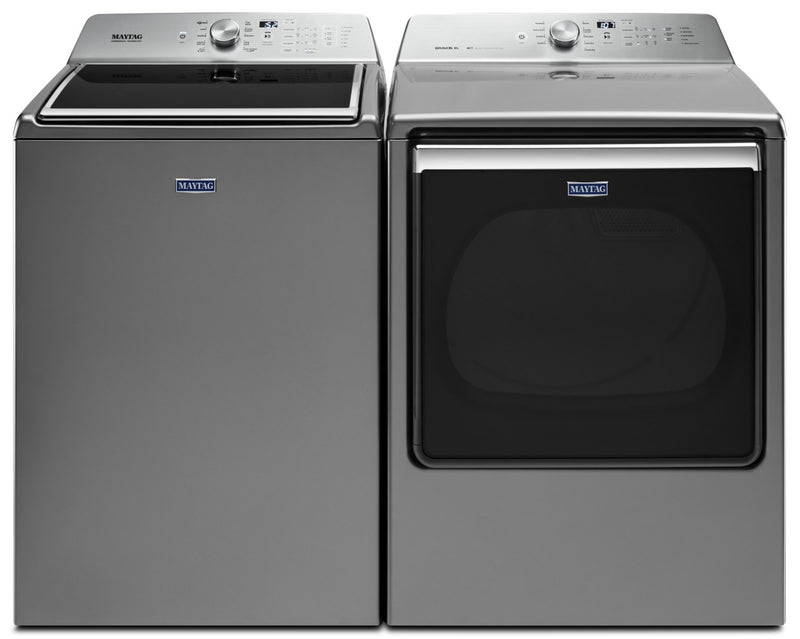 Maytag 6.0 Cu. Ft. Top-Load Washer and 8.8 Cu. Ft. Gas Dryer – Inox Grey|Laveuse à chargement frontal de 6,0 pi³ et sécheuse à gaz de 8,8 pi³ de Maytag – gris inox|MATL865G