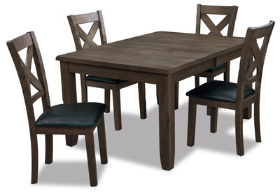 Talia 5-Piece Dining Package - Grey Brown - Contemporary style Dining Room Set in Grey Brown Rubberwood, Mango