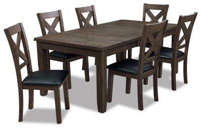 Talia 7-Piece Dining Package - Grey Brown - Contemporary style Dining Room Set in Grey Brown Rubberwood, Mango
