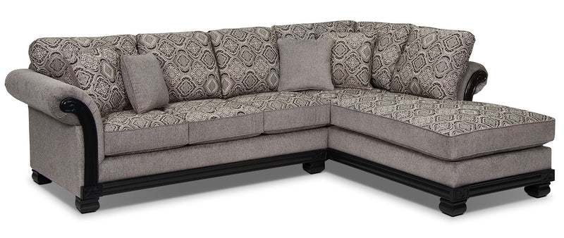 Hazel 2-Piece Chenille Right-Facing Sectional - Grey - Traditional style Sectional in Grey
