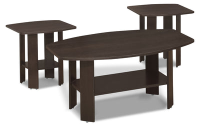 Rosario 3-Piece Coffee and Two End Tables Package – Espresso - Contemporary style Occasional Table Package in Dark Brown Wood