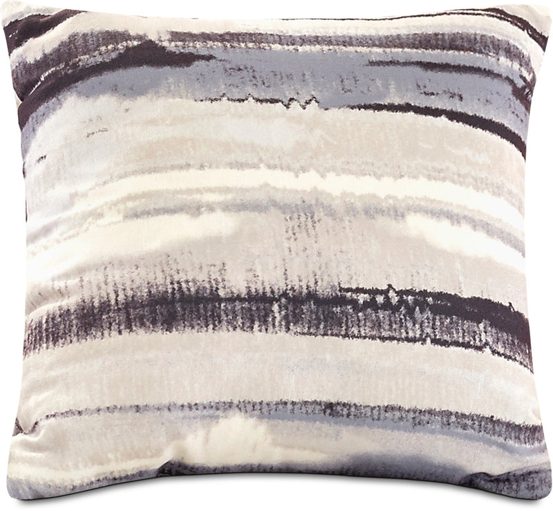 Watercolour Stripe Accent Pillow – Off-White, White, Grey and Black|Coussin décoratif à rayures aquarelle - blanc cassé, blanc, gris et noir