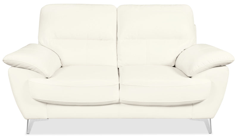 Olivia Leather-Look Fabric Loveseat – Snow|Causeuse Olivia en tissu d'apparence cuir - neige|OLIVSNLV