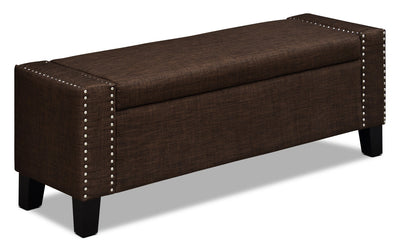 Milan Storage Ottoman – Dark Brown - Modern style Ottoman in Dark Brown Wood and Polyester