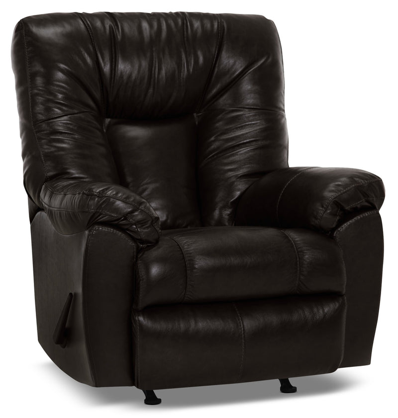 Designed2B 4703 Genuine Leather Rocker Recliner - Ranger Black Bean|Fauteuil berçant inclinable 4703 Design à mon image en cuir véritable – haricot noir Ranger