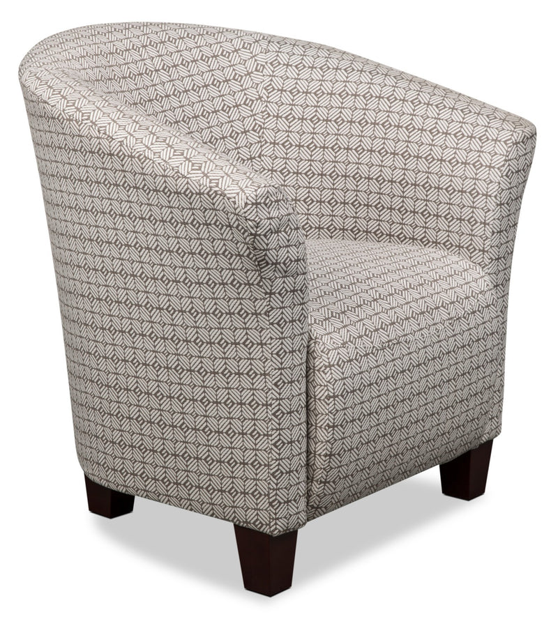 Tub-Style Fabric Accent Chair – Pewter - Contemporary style Accent Chair in Pewter