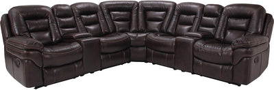 Leo Leathaire 7-Piece Reclining Sectional - Walnut - Contemporary style Sectional in Walnut