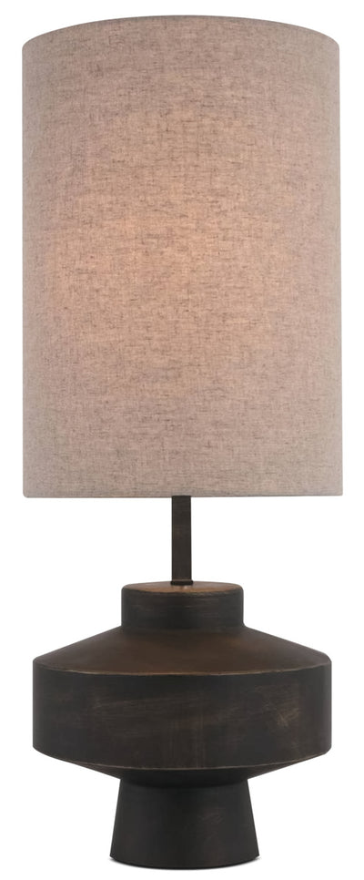 Dark Metal Table Lamp with Linen Shade|Lampe de table en métal foncé avec abat-jour en lin|LL1497TL