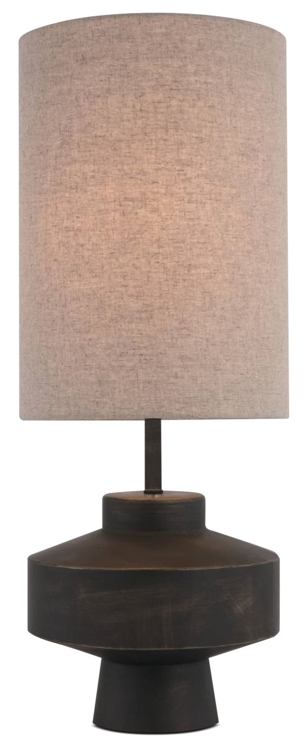 Dark Metal Table Lamp with Linen Shade|Lampe de table en métal foncé avec abat-jour en lin