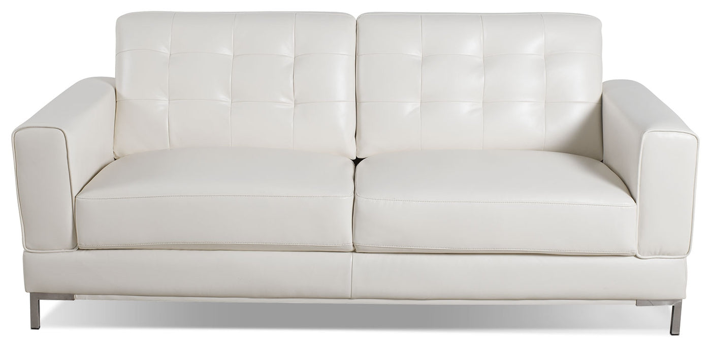 Myer Leather-Look Fabric Sofa - Cream