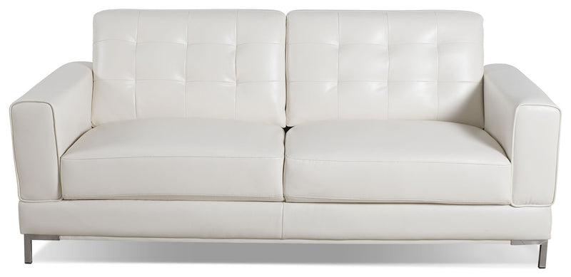Myer Leather-Look Fabric Sofa - Cream - Modern style Sofa in Cream