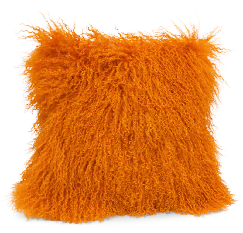 Mongolian Sheepskin Accent Pillow – Orange|Coussin décoratif Mogolian en peau de mouton de Mongolie - orange
