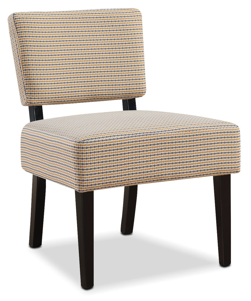 Faith Linen-Look Fabric Accent Chair – Yellow and Grey|Fauteuil d'appoint Faith en tissu d'apparence lin - jaune et gris