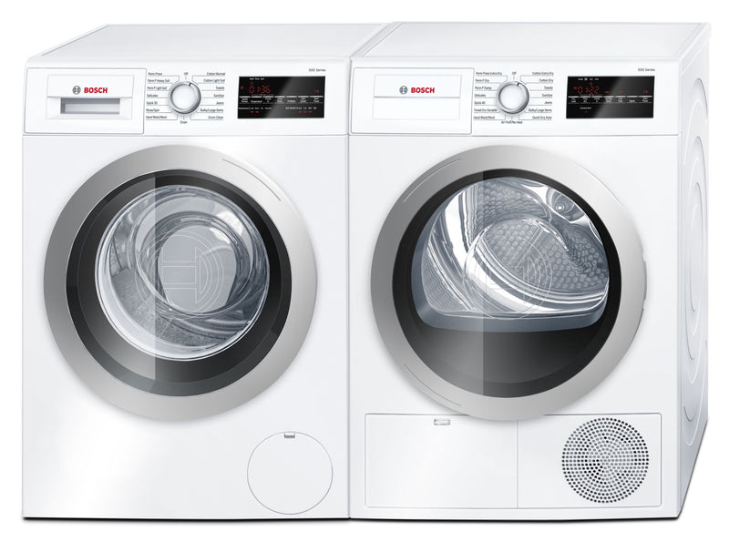 Bosch 500 Series 2.2 Cu. Ft. Compact Washer and 4.0 Cu. Ft. Compact Dryer – White|Laveuse de 2,2 pi³ et sécheuse électrique de 4,0 pi³ de série 500 compacte de Bosch - blanches