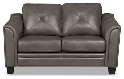 Andi Leather-Look Fabric Loveseat – Grey - Glam style Loveseat in Grey
