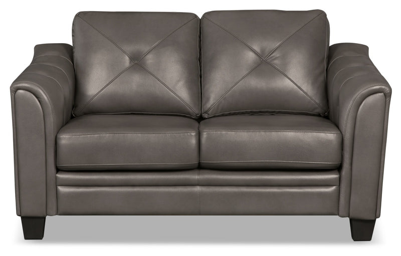 Andi Leather-Look Fabric Loveseat – Grey|Causeuse Andi en tissu d'apparence cuir - grise