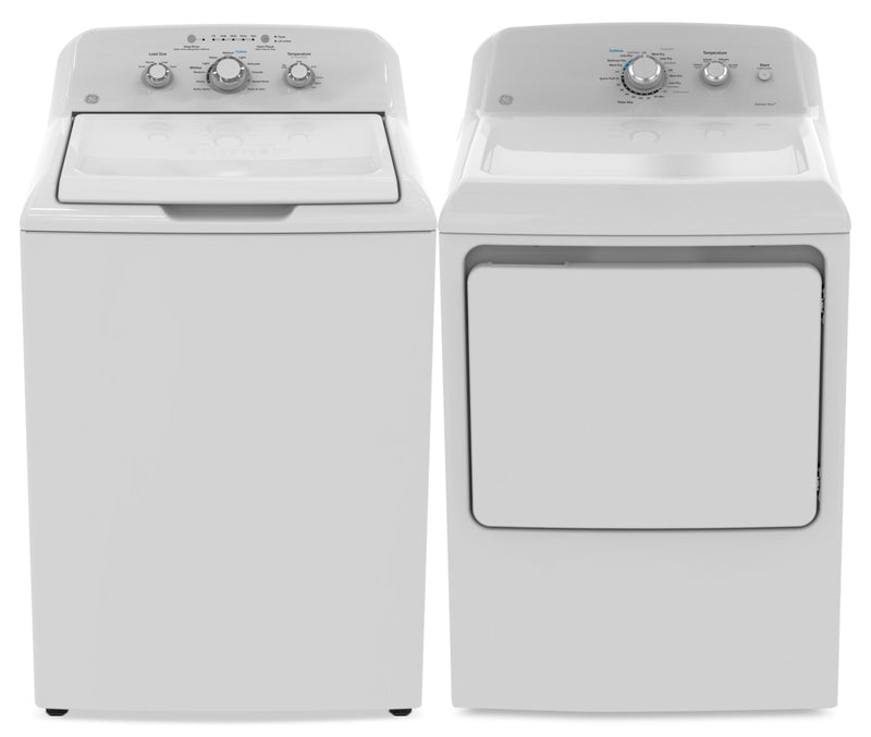 GE 4.4 Cu. Ft. Top-Load Washer and 7.2 Cu. Ft. Electric Dryer|Laveuse à chargement par le haut de 4,4 pi³ et sécheuse électrique de 7,2 pi³ de GE