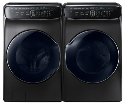 Samsung 6.9 Cu. Ft. FlexWash™ Steam Washer and 7.5 Cu. Ft. Steam FlexDryer™ - Laundry Set with Child Lock, Steam in Black Stainless Steel