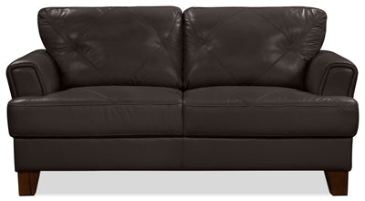 Vita 100% Genuine Leather Loveseat – Chocolate - Retro style Loveseat in Chocolate