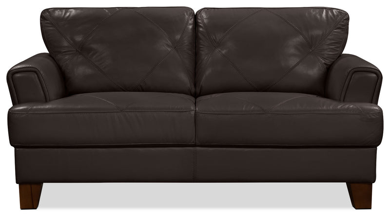Vita 100% Genuine Leather Loveseat – Chocolate|Causeuse Vita en cuir 100 % véritable - chocolat