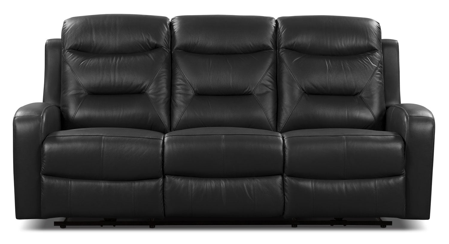 River Genuine Leather Power Reclining Sofa Black The Brick